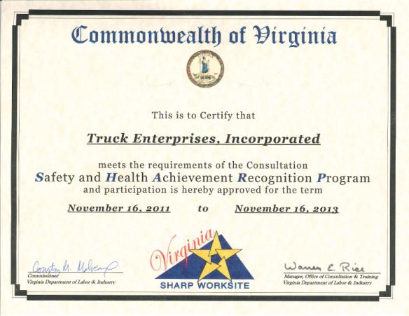 Truck Enterprises SHARP Certification