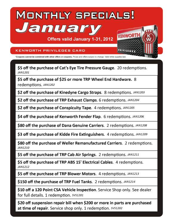 Kenworth Loyalty Card Specials - January 2012